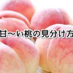 【知らないと損する】甘い桃の見分け方!おいしく食べる裏ワザとは?